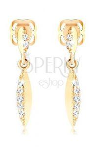 šperky - dámske zlaté náušnice visiace